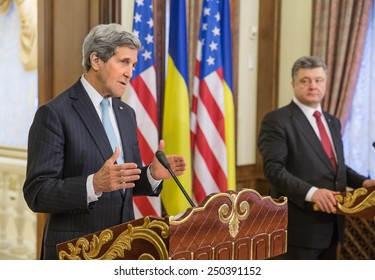KIEV, UKRAINE - Feb 5, 2015: President of Ukraine Petro Poroshenko and US Secretary of State John Kerry during a joint press conference in Kiev