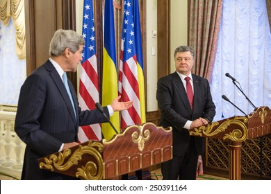 KIEV, UKRAINE - Feb 5, 2015: President of Ukraine Petro Poroshenko and US Secretary of State John Kerry during a joint press conference in Kiev