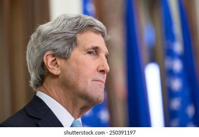 KIEV, UKRAINE - Feb 5, 2015: US Secretary of State John Kerry during a joint press conference with President of Ukraine Petro Poroshenko in Kiev