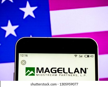 KIEV, UKRAINE - Feb 6, 2019: Magellan Midstream Partners Publicly listed company logo seen displayed on smart phone