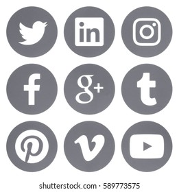 Kiev, Ukraine - Febraury 28, 2017: Collection of round popular social media grey logos printed on paper: Facebook, Twitter, Google Plus, Instagram, Pinterest, LinkedIn, Vimeo, Tumblr and Youtube