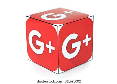 KIEV, UKRAINE - FEBRUARY 04, 2016: Cube with logotype of social mediaGoogle Plus on a white background.