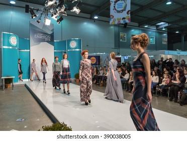 KIEV, UKRAINE - FEBRUARY 04, 2016: Fashion models at Kyiv Fashion 2016 show in KyivExpoPlaza exhibition center. It was the 30th edition of the popular Kyiv Fashion International Vogue Festival.