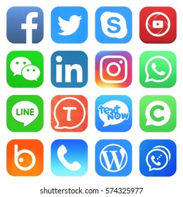 Kiev, Ukraine - FEBRUARY 08, 2017: Popular social media icons such as: Facebook, Twitter, Skype, LinkedIn, LINE, Tango, WeChat, WhatApp and others, printed on white paper.