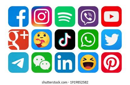 Kiev, Ukraine - February 09, 2021:  Facebook,Instagram,TikTok, Spotify,Viber,Telegram, WeChat, Google Plus,LinkedIn,WhatsApp, YouTube,Pinterest,Twitter, Empathetic Emoji reactions, printed on paper.