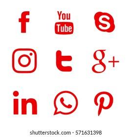 Kiev, Ukraine - February 1, 2017: Collection of popular social media logos printed on paper: Facebook, Twitter, Google Plus, Instagram, Pinterest, LinkedIn, YouTube and others.