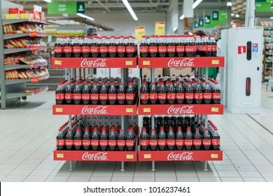 Kiev, Ukraine. February 1 2018. Stand with Coca-Cola in the supermarket