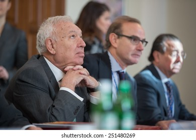KIEV, UKRAINE - FEBRUARY, 10, 2015: Foreign Minister of Spain Jose Manuel Garci�­a-Margallo during meeting with Minister for Foreign Affairs of Ukraine Pavlo Klimkin in Kiev