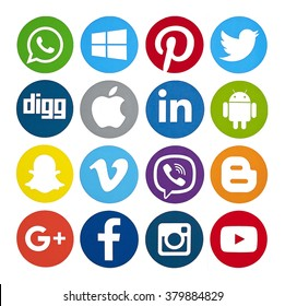 Kiev, Ukraine - February 10, 2016: Set of most popular social media icons: Twitter, Pinterest, Instagram, Facebook, Blogger, WhatsApp,Viber, Vimeo, Linkedin and others printed on paper.