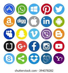Kiev, Ukraine - February 10, 2016: Set of most popular social media icons: Twitter, Pinterest, Instagram, Facebook, Blogger, WhatsApp,Viber, Vimeo, Linkedin, Skype and others printed on paper.