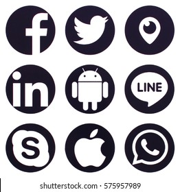 KIEV, UKRAINE - FEBRUARY 10, 2017: Collection of popular social media logos printed on paper: Facebook, Twitter, LinkedIn, Line and other