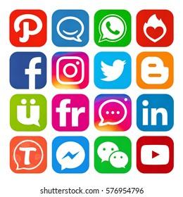 Kiev, Ukraine - February 10, 2017: Set of popular social media icons printed on white paper: Facebook,Instagram, Google Plus, Twitter, Tango, Youtube, Flickr, WhatsApp, InstaMessage, Wechat, Blogger.