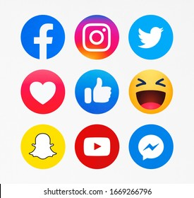 Kiev, Ukraine - February 10, 2020: New Facebook, like button  Empathetic Emoji reactions,Instagram, Twitter, Snapchat, YouTube,Messenger printed on paper.