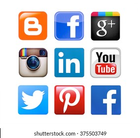 Kiev, Ukraine - February 11, 2016: Collection of popular social media logos printed on paper:Facebook, Twitter, Google Plus, Instagram, Pinterest, LinkedIn, YouTube, Blogger and YouTube.