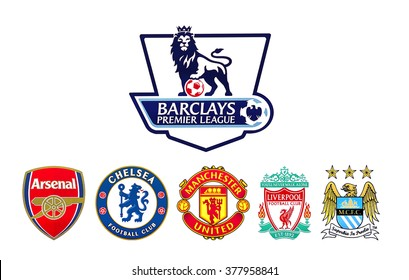 Kiev, Ukraine - February 11, 2016: Barclays Premier League football clubs logo printed on paper.