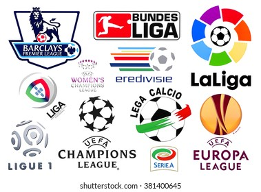 Kiev, Ukraine - February 11, 2016: Logos of European football leagues printed on paper and placed on the white background.