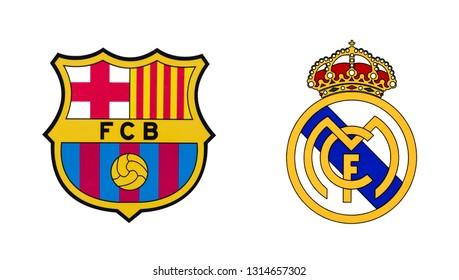 Kiev, Ukraine - February 11, 2019: Logos of two best spanish football clubs - FC Barcelona and Real Madrid FC.
