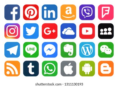 KIEV, UKRAINE - February 12, 2019: This is a photo collection of popular social media logos printed on paper: Facebook, Twitter, LinkedIn, Instagram, Tango, WhatsApp, Youtube, Line and other
