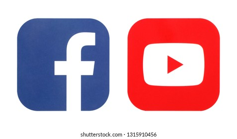 KIEV, UKRAINE - February 14, 2019:  This is a photo collection of popular social media logos printed on paper: Facebook, Youtube;