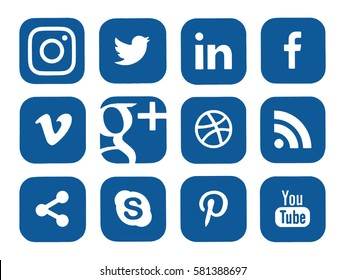 Kiev, Ukraine - February 15, 2017: Collection of popular social media logos printed on paper: Facebook, Twitter, Instagram, LinkedIn, YouTube and others.