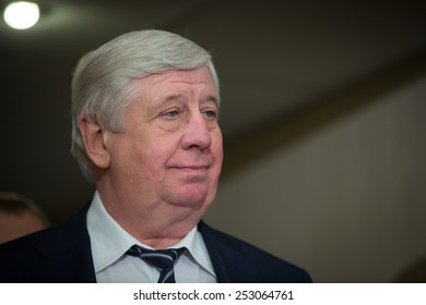 KIEV, UKRAINE - FEBRUARY, 16, 2015: Prosecutor General of Ukraine Viktor Shokin during the first press conference after appointment