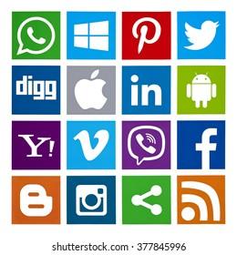 Kiev, Ukraine - February 16, 2016: Set of most popular social media icons: Twitter, Pinterest, Instagram, Facebook, Blogger, WhatsApp,Viber, Vimeo, Linkedin and others printed on paper.