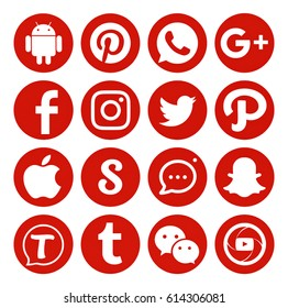 Kiev, Ukraine - February 16, 2017: Set of popular social media icons printed on white paper: Facebook,Instagram, Snapchat, Tumblr, Twitter, Tango, Youtube, Pinterest, WhatsApp, InstaMessage, Wechat.