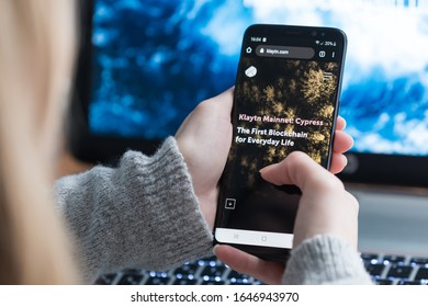 KIEV, UKRAINE - FEBRUARY 16, 2020: Close up view of Klaytn website on the smartphone screen. Klaytn is an enterprise grade global public blockchain project developed by Kakao Corp