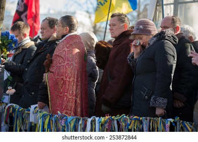 KIEV, UKRAINE - FEBRUARY, 18, 2015: A memorial service is held for the Heavenly Hundred who were killed during the mass protests in central Kiev in February 2014