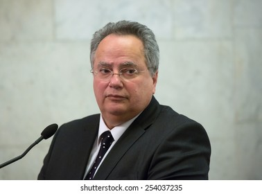 KIEV, UKRAINE - FEBRUARY, 19, 2015: Minister of Foreign Affairs of Greece Nikos Kotzias during his visit to Kiev