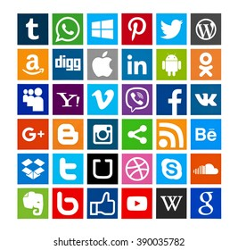 Kiev, Ukraine - February 19, 2016: Set of most popular social media icons:Twitter, Pinterest,Instagram, Facebook, Blogger, WhatsApp,Viber,Vimeo, Linkedin,Android, Youtube, and others printed on paper.
