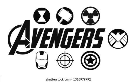 Kiev, Ukraine - February 19, 2019: Set of Avengers logo and super heroes icons printed on paper. Marvel Studios.