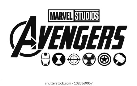 Kiev, Ukraine - February 19, 2019: Set of Avengers logo and super heroes icons printed on paper. Marvel Studios.
