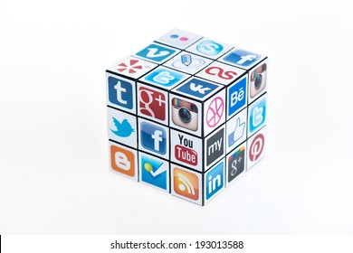 KIEV, UKRAINE - FEBRUARY 2, 2013: A Rubik's cube with logotypes of well-known social media brand's. Include Facebook, YouTube, Twitter, Google Plus, Instagram, Vimeo and other logos.