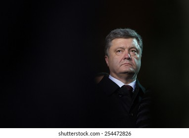 KIEV, UKRAINE - FEBRUARY, 20, 2015: President of Ukraine Petro Poroshenko at the Independence Square on the the commemoration day of the Heavenly Hundred