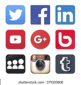 KIEV, UKRAINE - FEBRUARY 20, 2016: Collection of popular social media logos printed on paper: Twitter, Facebook,  Google Plus, LinkedIn, YouTube, Bebo, MySpace, Instagram and Tumblr