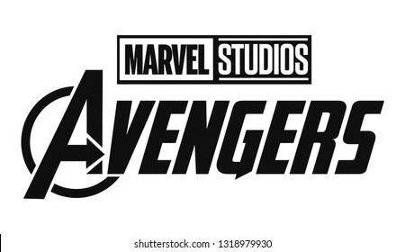 Kiev, Ukraine - February 20, 2019: Set of Avengers and Marvel Studios logos printed on paper.