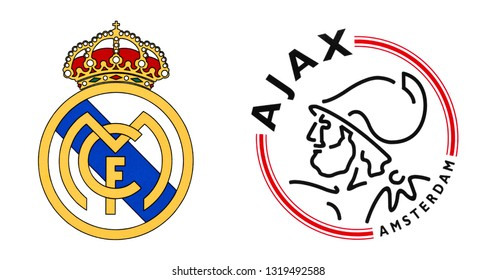 Kiev, Ukraine - February 20, 2019: Real Madrid FC and Ajax football clubs logos isolated on white. Champions league play off.