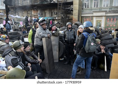 KIEV, UKRAINE - February 21, 2014: Ukrainian revolution. Euromaidan fighters