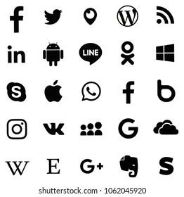 KIEV, UKRAINE - FEBRUARY 21, 2018: Collection of popular social media logos printed on paper: Facebook, Twitter, LinkedIn, Instagram, Line and other