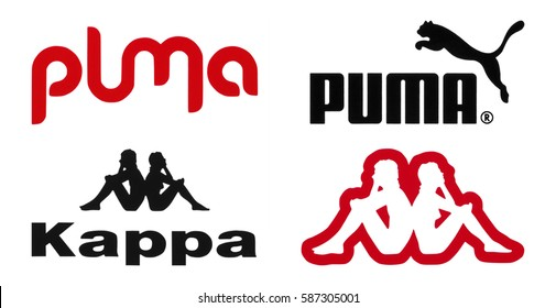 Kiev, Ukraine - February 22, 2017: Puma and Kappa logos printed on paper and placed on white background.
