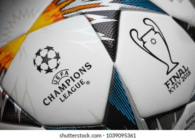 Kiev, Ukraine - February 22, 2018: UEFA Champions League Final ball will be the final match of the 2017–18 UEFA Champions League