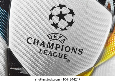 Kiev, Ukraine - February 22, 2018: Official UEFA Champions League 2018 season ball (Adidas Final Kiev)
