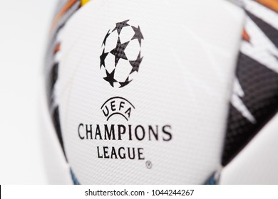 Kiev, Ukraine - February 22, 2018: The official ball of the Champions League Final , which will be held in Kiev,