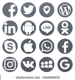 KIEV, UKRAINE - FEBRUARY 22, 2018:(This is not an illustration, but a photograph) Collection of popular social media logos printed on paper: Facebook, Twitter, LinkedIn, Instagram, Line and other