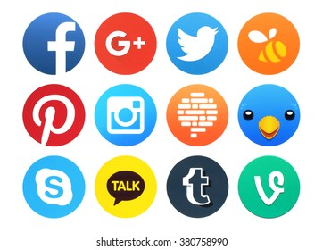 Kiev, Ukraine - February 23, 2016: Collection of popular social networking icons printed on paper: Facebook, Google plus, Twitter, Instagram, Confide, Swarm, Tumblr, Vine, Pinterest and other