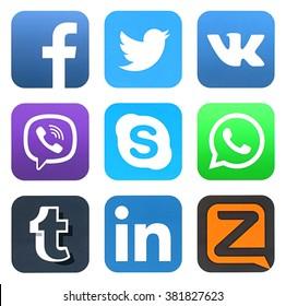 KIEV, UKRAINE - FEBRUARY 23, 2016: Collection of popular social media logos printed on paper: Facebook, Twitter, VKontakte, Viber, Skype, WhatsApp, Tumblr, LinkedIn, and Zello