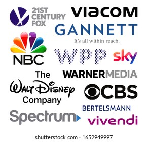 Kiev, Ukraine - February 23, 2020: Logos collection of the biggest world broadcasting companies, such as: 21st Century Fox, Viacom, Gannett, NBC, WPP, Sky, Warner Media, and others