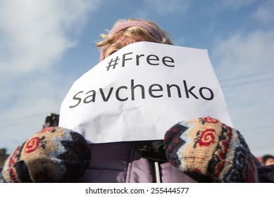KIEV, UKRAINE - FEBRUARY, 24, 2015: Activists rally in support of Nadiya Savchenko near Embassy of Russia. Nadiya keeps hunger strike in a Russian prison for more than 70 days.