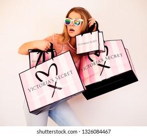 KIEV, UKRAINE, FEBRUARY 25 2019: Victoria's Secret shopping bag.
